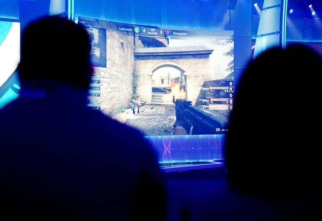 Spectators watch a gaming competition in the ELEAGUE arena at Turner Studios, Tuesday, May 24, 2016, in Atlanta.
