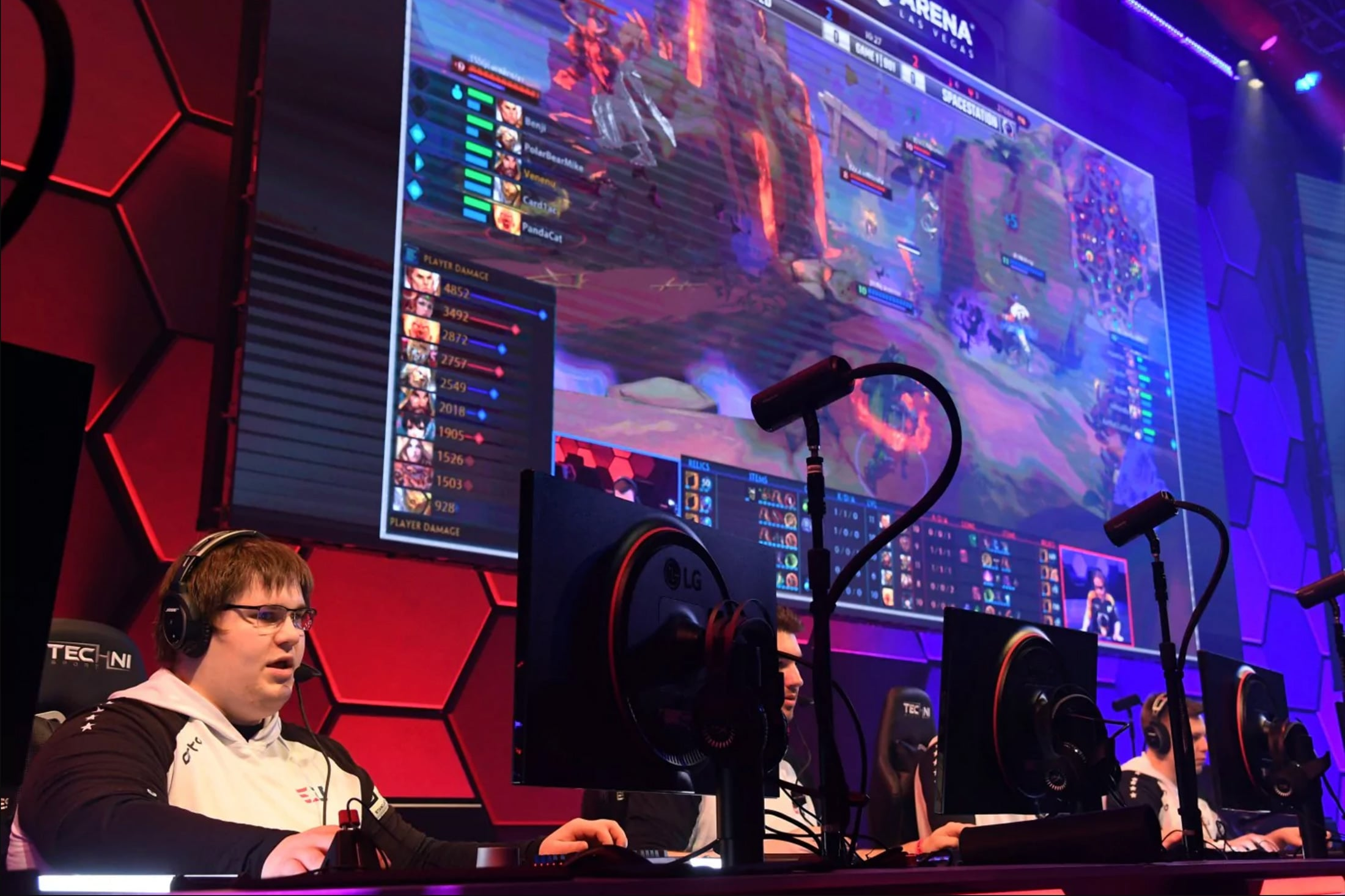 Players compete in a video game competition during the grand opening of esports Arena Las Vegas at Luxor Hotel and Casino. (Ethan Miller/Getty Images)
